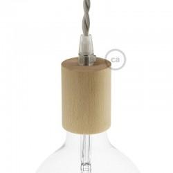 Kit douille pour câble textile en bois naturel.