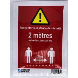 """AUTOCOLLANT A4 """"RESPECTEZ LES DISTANCES SECURITE"""""""