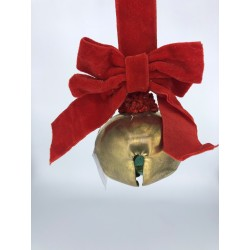 ROUND BELL W/BOW GLD/RD 5CM