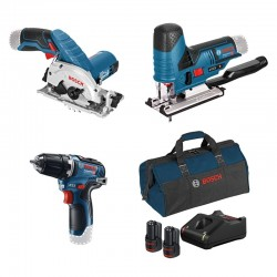 Set de 3 machines 12 V + 2 Accus 3,0 Ah Bosch