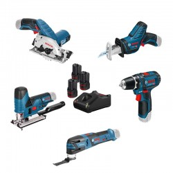 Set De 5 Machines 12 V + GSR + GST + GOP + GKS + GSA + 3 Accus Bosch