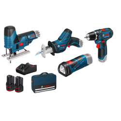 Set de 3 machines 12 V + Accus + Sac de transport Bosch